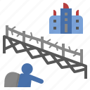 barbwire, fence, migration, refugee, wall icon