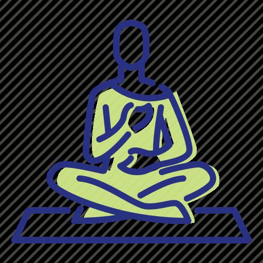 breathing deeply, meditation, relaxation, yoga icon
