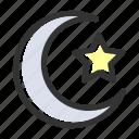crescent, islam, moon, muslim, relicons, religion, star icon