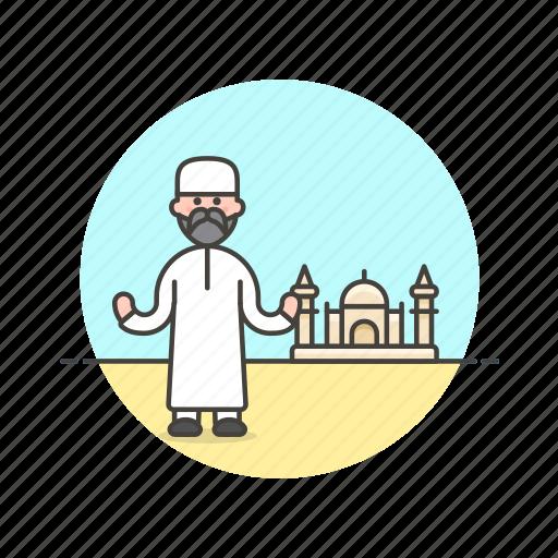 imam, islamic, man, mosque, muslim, preacher, religion icon