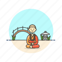 bridge, buddhist, meditation, monk, peace, religion, zen icon