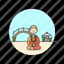 buddhist, chinese, meditation, monk, religion icon