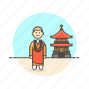 asia, buddhist, building, monk, religion, temple, zen icon