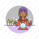 ball, candles, crystal, fortune, psychic, religion, teller icon