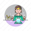 religion, fortune, teller, crystal, woman, ball, psychic icon