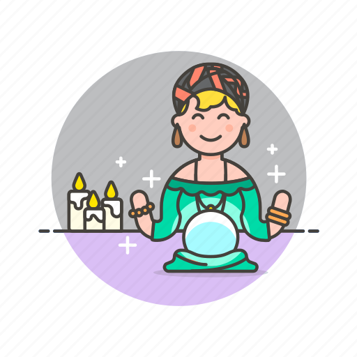 ball, crystal, fortune, psychic, religion, teller, woman icon