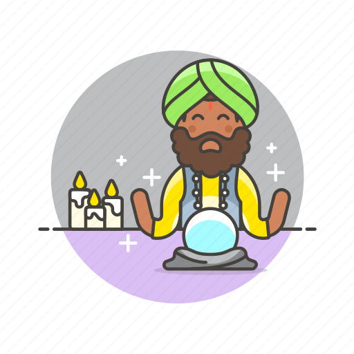 ball, crystal, fortune, man, psychic, religion, teller icon