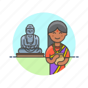 agoda, buddha, buddhist, indian, religion, temple, woman icon