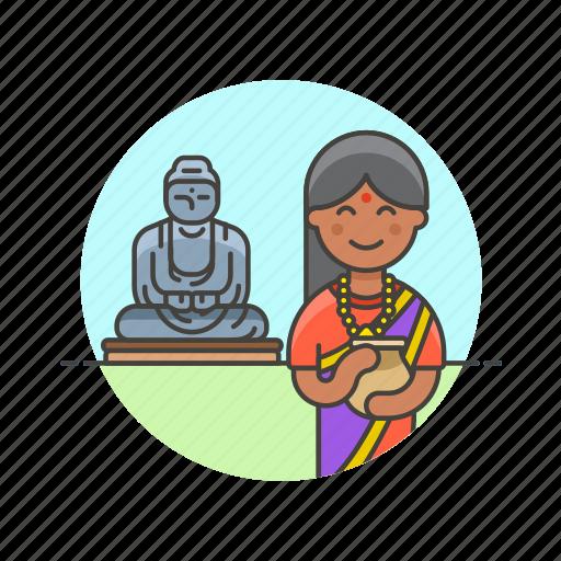 agoda, buddha, buddhist, indian, religion, temple, woman icon