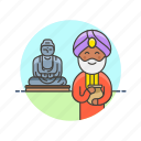 agoda, buddha, buddhist, indian, man, religion, temple icon