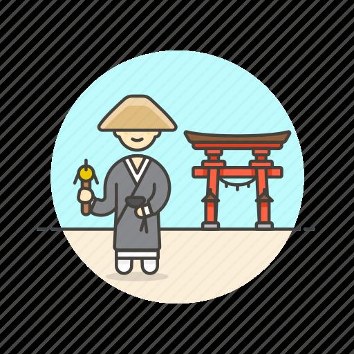 asian, japanese, man, monk, religion, temple, zen icon
