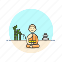 buddhist, man, meditation, monk, religion, south, zen icon