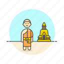 buddhist, man, monk, religion, south, stupa, temple icon