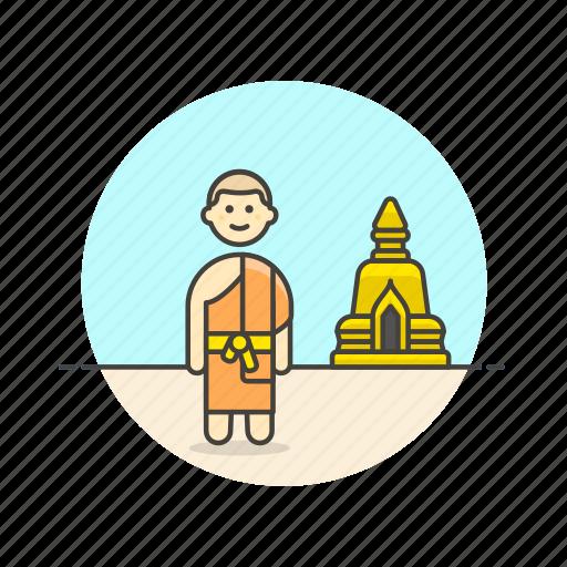 buddhist, man, monk, religion, south, stupa, temple icon