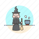 pot, religion, witch, broom, woman, cauldron, fantasy, sorcery icon