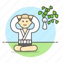 2, apprentice, asian, chinese, concentration, meditation, monk, nature, religion icon