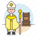 christianity, church, ferula, hat, high, male, mitre, papal, pope, prie, priest, religion, simplex, staff