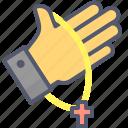 christian, cross, hand, jesus, necklace