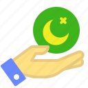 hand, islam, moon, muslim icon