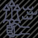 aquaman, fork, hand, poseidon icon