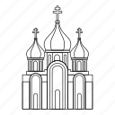 building, christian, church, cross, line, outline, religion icon
