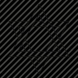 david, hexagram, jew, jewish, line, outline, star icon