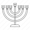 candlestick, chanukah, jewish, line, menora, menorah, outline icon