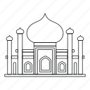 islam, islamic, line, minaret, mosque, outline, religion icon