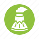 energy, nature, power, renewable, volcano icon