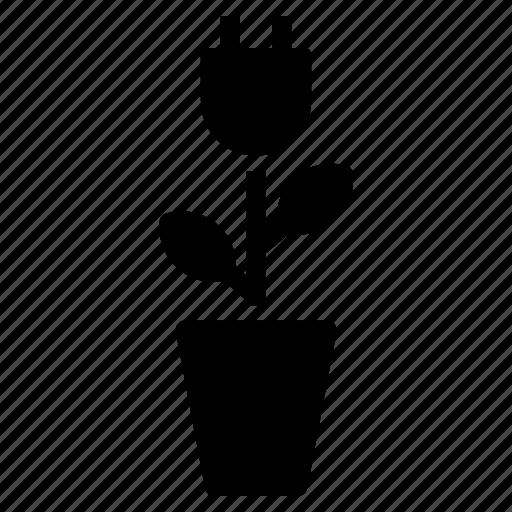 ecological, electricity, energy, green, plant, plug, vase icon