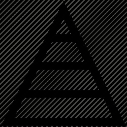 analytics, chart, pyramid, report, statistics, triangle icon