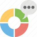 circular statistical graphic, diagram with speech bubble, pie chart infographics, pie donut chart, round chart icon
