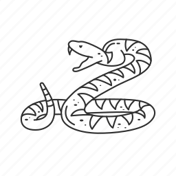 diamondback rattlesnake, poisonous, reptile, serpent, snake, venom, viper icon