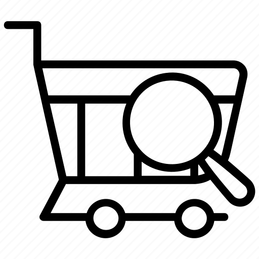 ecommerce, market research, online shopping, searching shopping, shopping cart icon