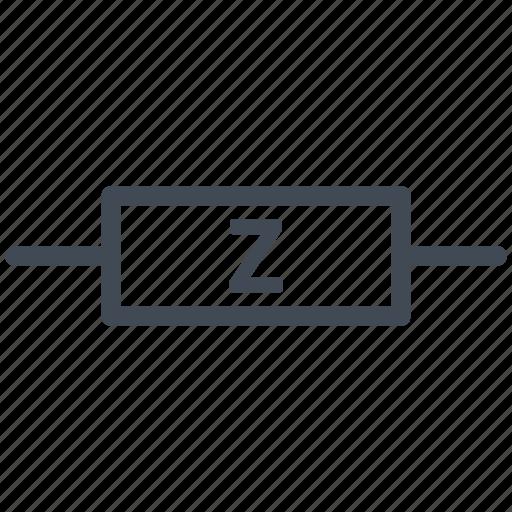 circuit, diagram, electric, electronic, impedance, resistor icon
