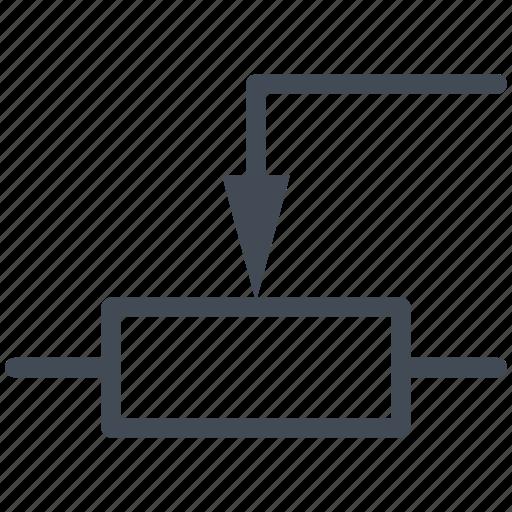 circuit, diagram, electric, electronic, linear potentiometer, resistor icon