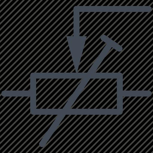 circuit, default settings resistor, diagram, electric, electronic, potentiometer, resistor icon