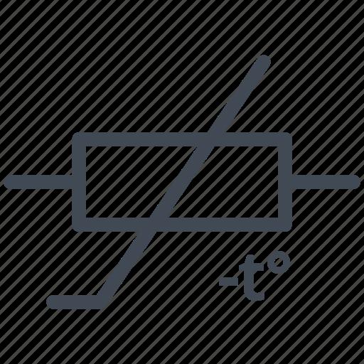 circuit, decreases resistance, diagram, electric, electronic, ptc, thermistor icon