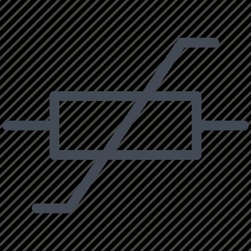 circuit, diagram, electric, electronic, resistor, varistor, voltage-dependent icon