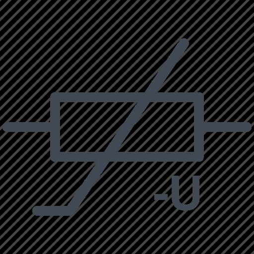 circuit, diagram, electric, electronic, varistor, vdr icon
