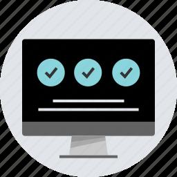 check, design, mark, monitor, pc, responsive icon