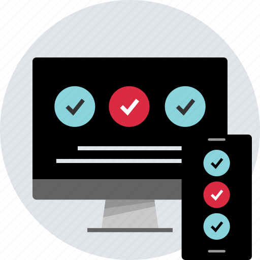 check, design, desktop, marks, mobile, responsive icon