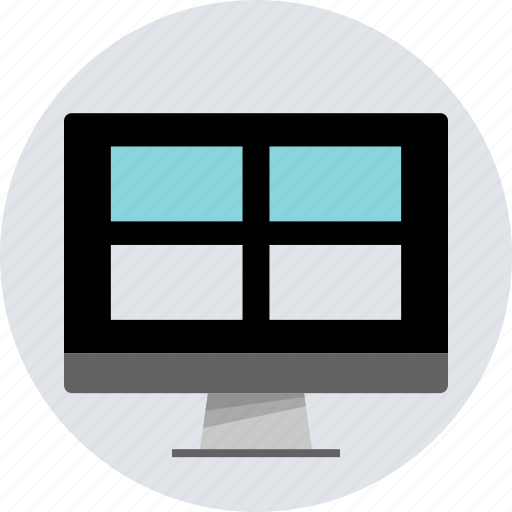boxed, design, grid, inside, monitor, online, responsive icon