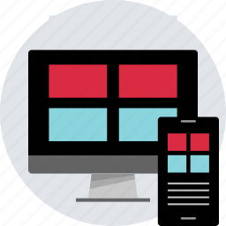 design, four, grid, layout, monitor, phone, responsive icon