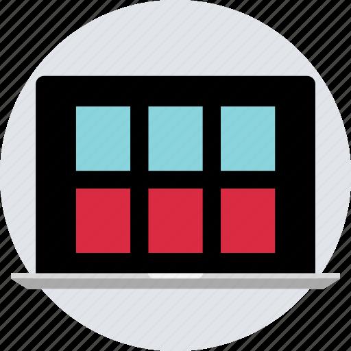 creative, design, grid, internet, laptop, layout, online icon