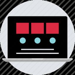 blog, design, laptop, online, post, responsive icon