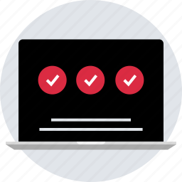 check, design, laptop, marks, online, responsive icon
