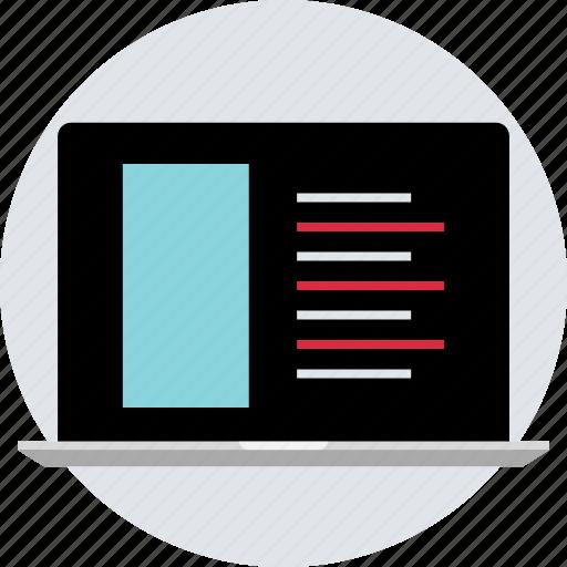 code, coding, design, laptop, online, responsive icon