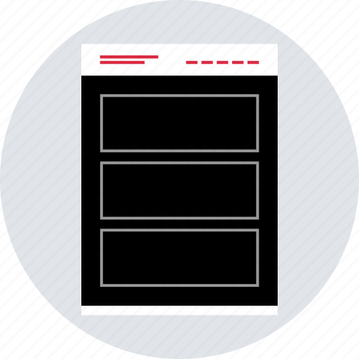 banner, gallery, mockup, online, webpage, website, wireframe icon