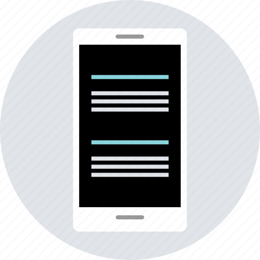 cell, design, double, paragraph, phone, responsive icon